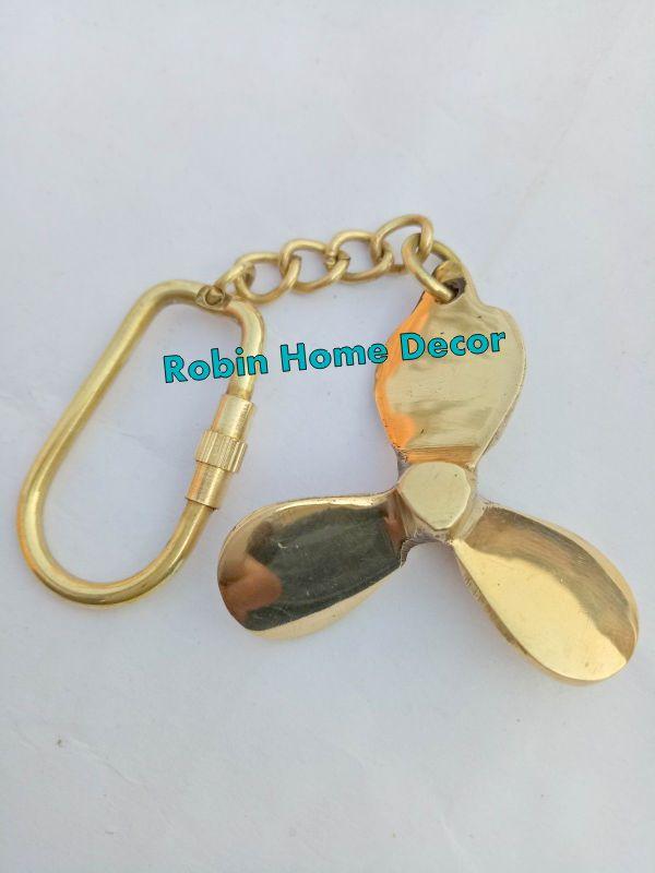 100% True Vintage Antique Brass Propeller Key Chain Key Ring Nautical Sailor Maritime Maritime Reproductions Antiques