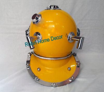 """U.S Navy Anchor Engineering Divers Helmet Antique Yellow Diving Helmet 18/"""""""